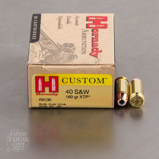 20rds - 40 S&W Hornady 180gr. XTP Jacketed Hollow Point Ammo