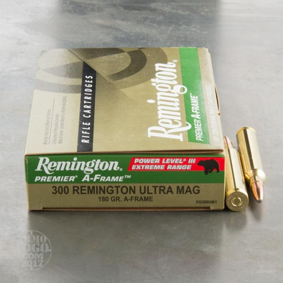 20rds - 300 RUM Remington Premier 180gr. A-Frame SP Power Level 3 Ammo