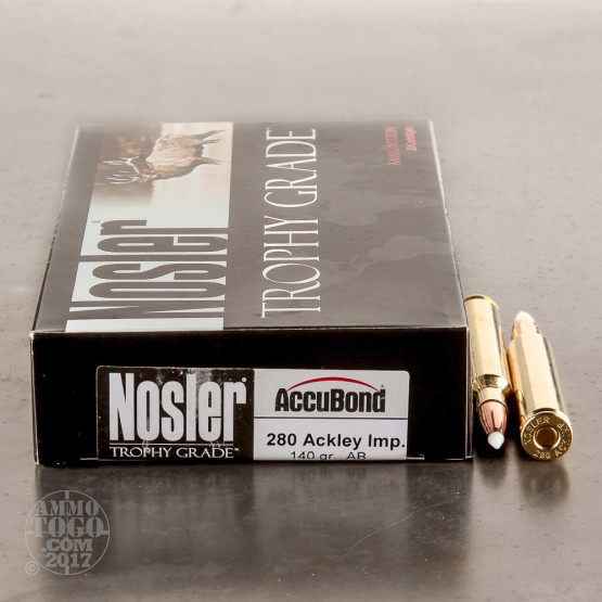20rds -  280 Ackley Improved Nosler Trophy Grade 140gr. AccuBond Ammo