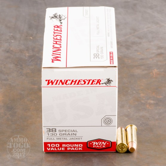 100rds - 38 Special Winchester USA 130gr. FMJ Value Pack Ammo