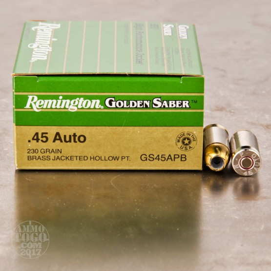 25rds - 45 ACP Remington Golden Saber 230gr. HP Ammo
