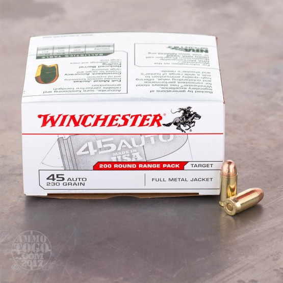 200rds - 45 ACP Winchester Range Pack 230gr. FMJ Ammo