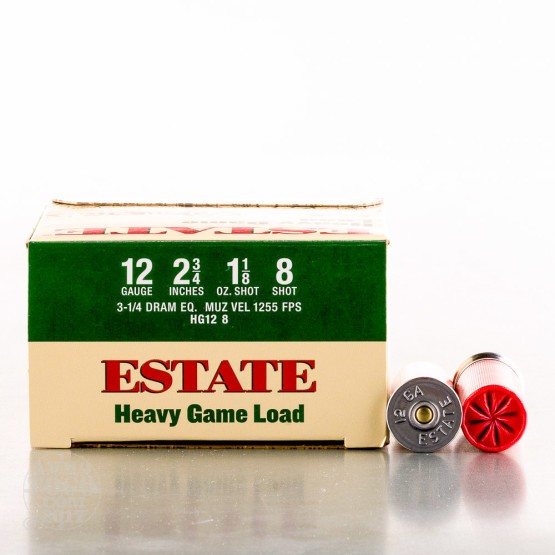 "250rds - 12 Gauge Estate 2 3/4"" 3 1/4 Dram 1 1/8oz. #8 Shot"