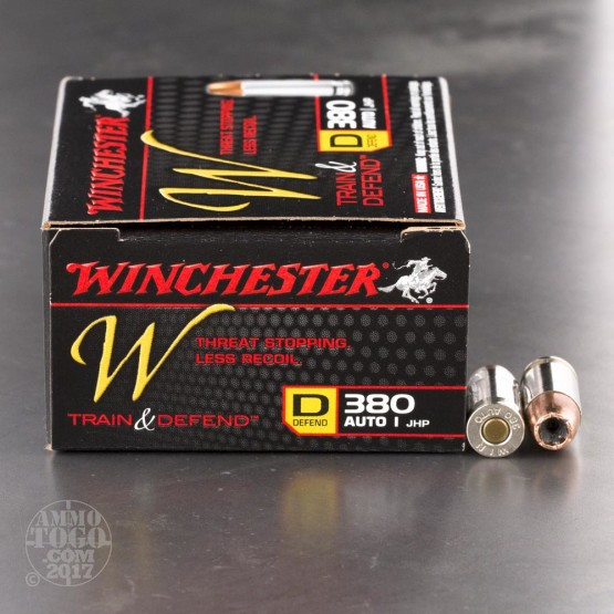 200rds - 380 Auto Winchester W Train and Defend 95gr. JHP Ammo