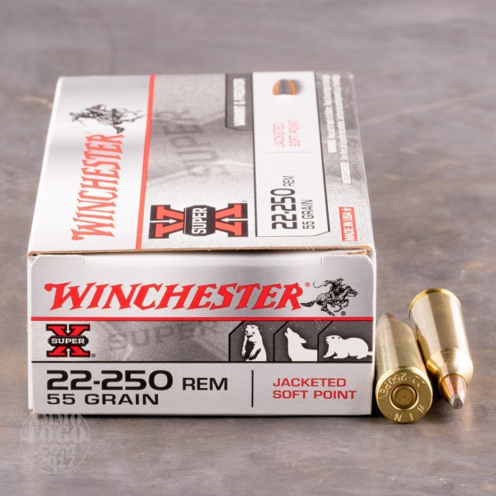20rds - 22-250 Winchester Super-X 55gr. Pointed Soft Point Ammo