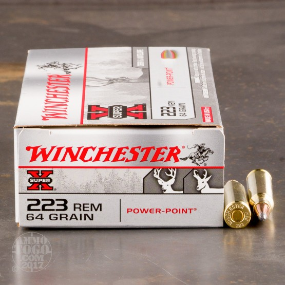 20rds - .223 Winchester Super-X 64gr. Pointed Soft Point Ammo