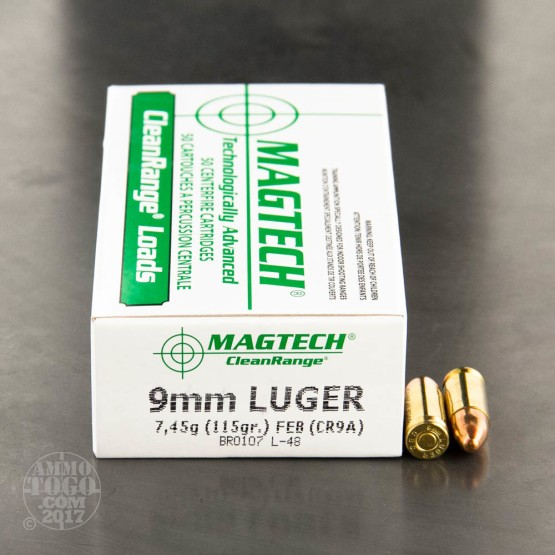 50rds – 9mm Magtech Clean Range 115gr. FEB Ammo