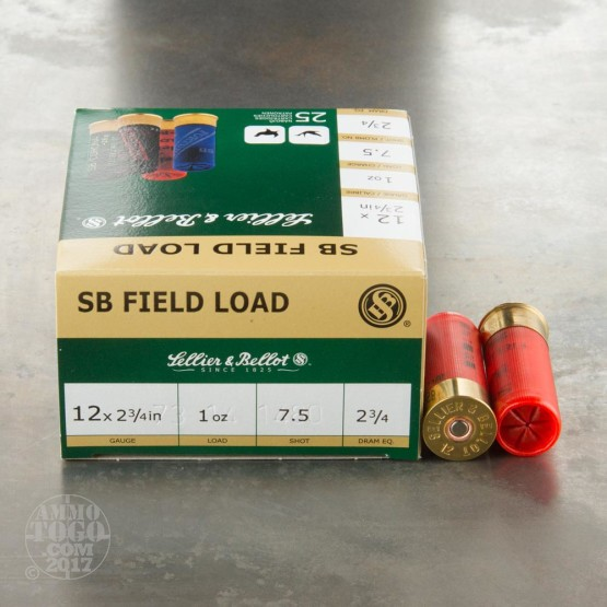 "25rds - 12 Gauge Sellier & Bellot Field Load 2-3/4"" 1 oz. #7.5 Shot Ammo"