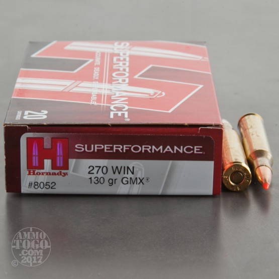 20rds - 270 Win. Hornady 130gr GMX Superformance Ammo