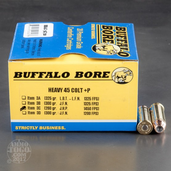 20rds - 45 Long Colt Heavy Buffalo Bore 260gr. +P JHP Ammo