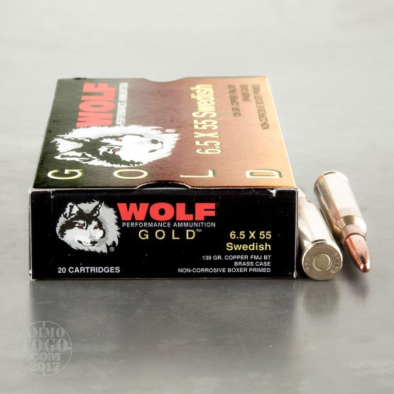 20rds - 6.5x55 Wolf Gold 139gr Copper FMJ Ammo