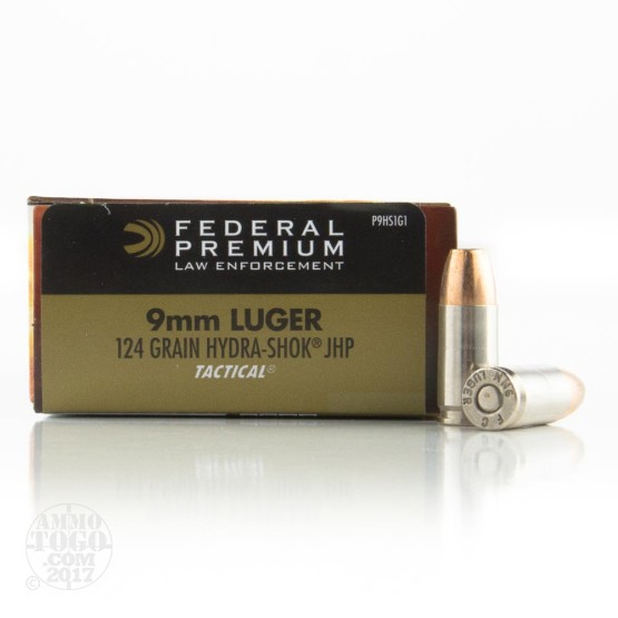 1000rds –  9mm Federal Premium Law Enforcement 124gr. Hydra-Shok JHP Ammo