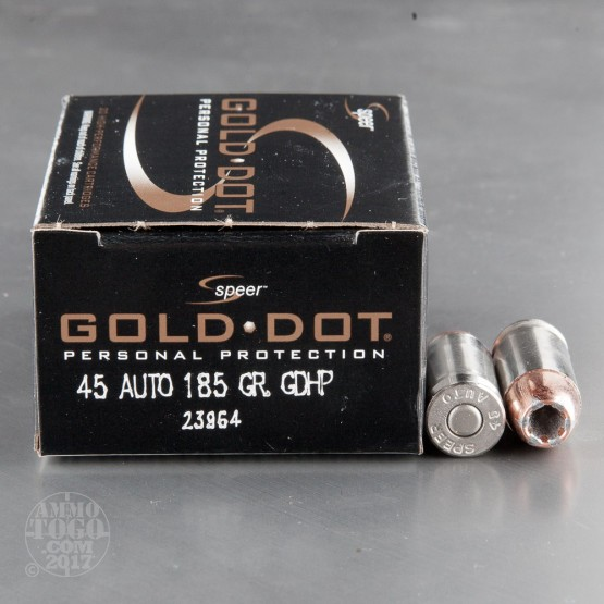 20rds - 45 ACP Speer Gold Dot 185gr. HP Ammo