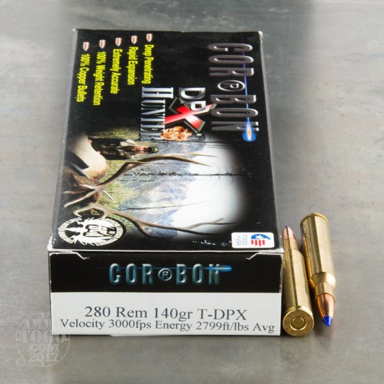 20rds - 280 Rem. Corbon Hunter 140gr. T-DPX Ammo