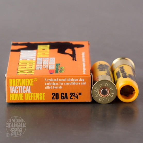 "5rds - 20 Gauge Brenneke THD 2 3/4"" 3/4 oz. Reduced Recoil Rifled Slug Ammo"