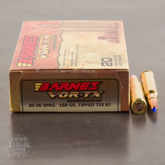 20rds - 30-06 Barnes VOR-TX Polymer Tip 168gr. Tipped TSX Boattail Ammo