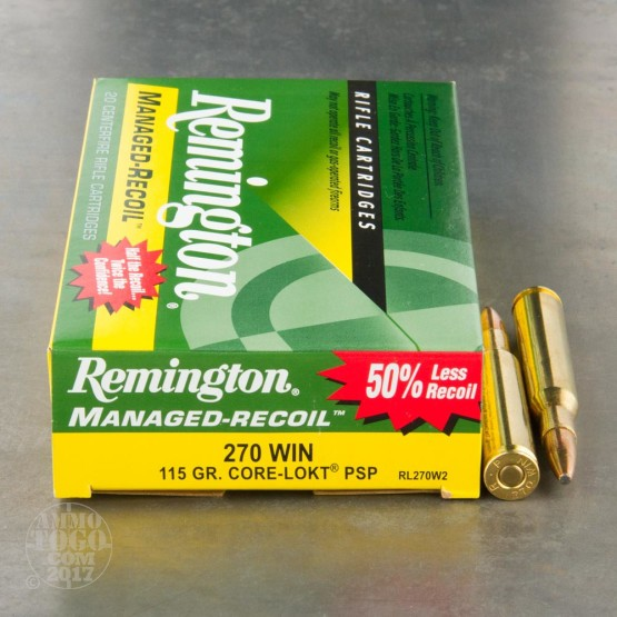 20rds - 270 Win Remington Managed Recoil 115gr. Core-Lokt PSP Ammo