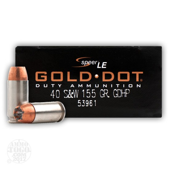 1000rds - 40 S&W Speer Gold Dot LE 155gr. JHP Ammo