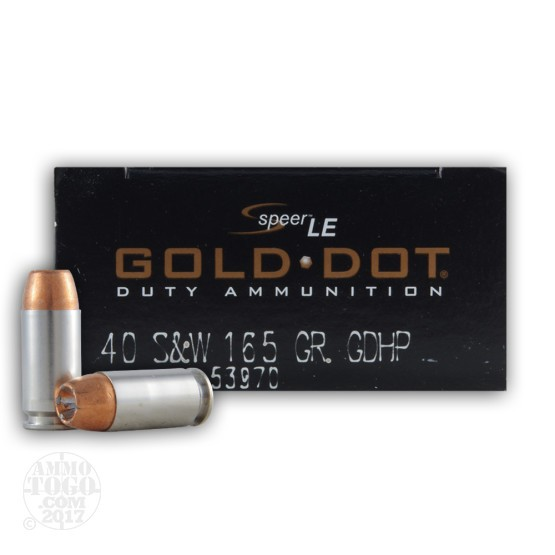 1000rds - 40 S&W Speer Gold Dot LE 165gr. JHP Ammo