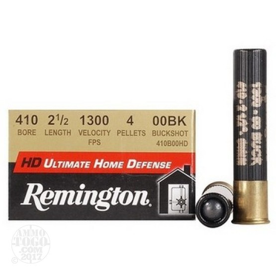 "15rds - 410 Gauge Remington Ultimate Home Defense 2 1/2"" 4 Pellet 00 Buckshot Ammo"