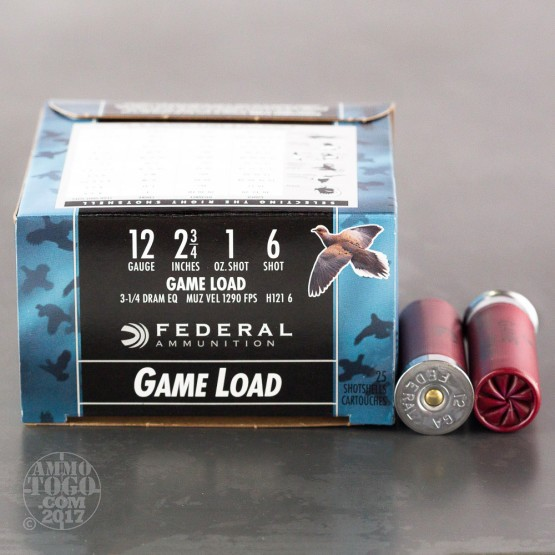 "250rds - 12 Gauge Federal Game Shok 2 3/4"" 1oz. #6 Shot Ammo"