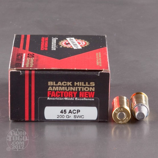 20rds - 45 ACP Black Hills New Factory 200gr. SWC Ammo