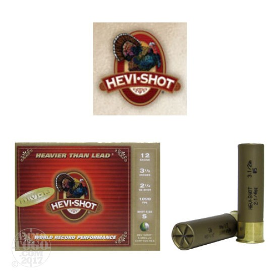 "5rds - 12 Gauge Hevi-Shot Hevi-13 Turkey 3 1/2""  2 1/4oz. #5 Shot Ammo"