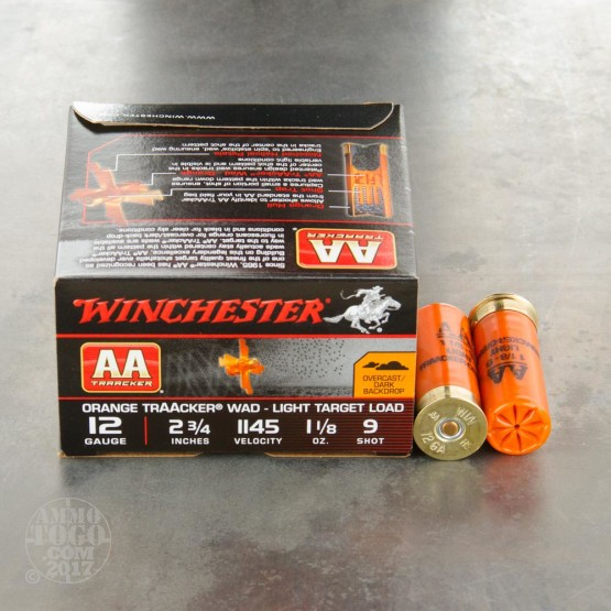 "25rds - 12 Gauge Winchester AA TrAAcker 2-3/4"" Orange Hull 1-1/8 Ounce #9 Shot Ammo"