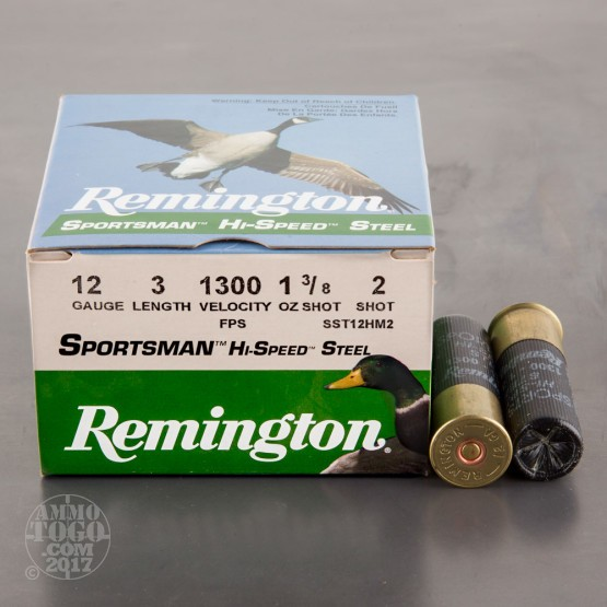 "25rds - 12 Gauge Remington Sportsman Hi-Speed Steel 3"" 1 3/8oz. #2 Shot Ammo"