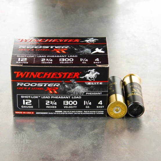 "15rds – 12 Gauge Winchester Rooster XR 2-3/4"" 1-1/4 oz. #4 Shot Ammo"