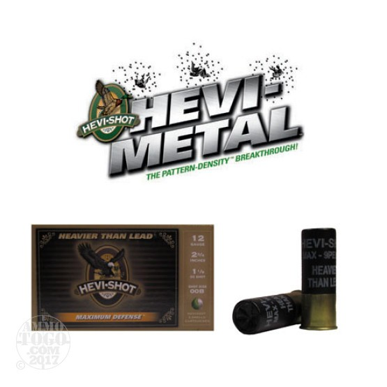"5rds - 12 Gauge Hevi-Shot Maximum Defense 2 3/4"" 1 1/8oz. 00 Buckshot Ammo"