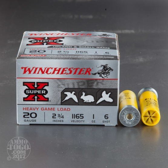 "250rds - 20 Gauge Winchester Super-X Heavy Game Load 2 3/4"" #6 Shot Ammo"