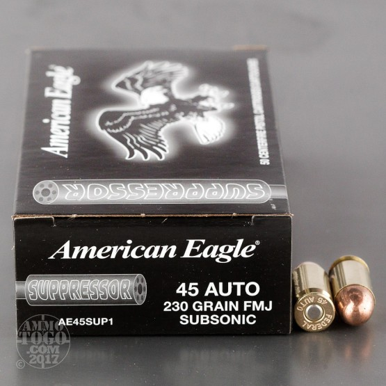 500rds - 45 ACP Federal American Eagle Suppressor Subsonic 230gr. FMJ Ammo