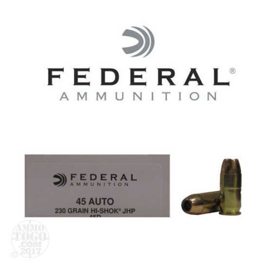 1000rds - 45 ACP Federal LE Hi-Shok 230gr. Hollow Point Ammo