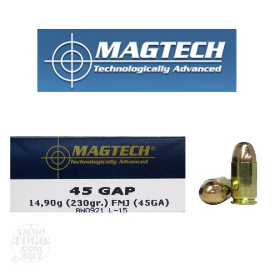50rds - 45 GAP MAGTECH 230gr. Full Metal Jacket Ammo