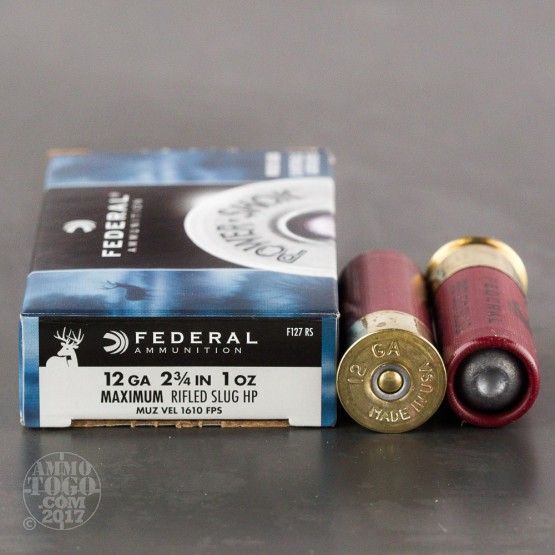 "Federal Power Shok 12 Gauge 2 3/4"" 1 oz. Rifled HP Slug - 5 Rounds"