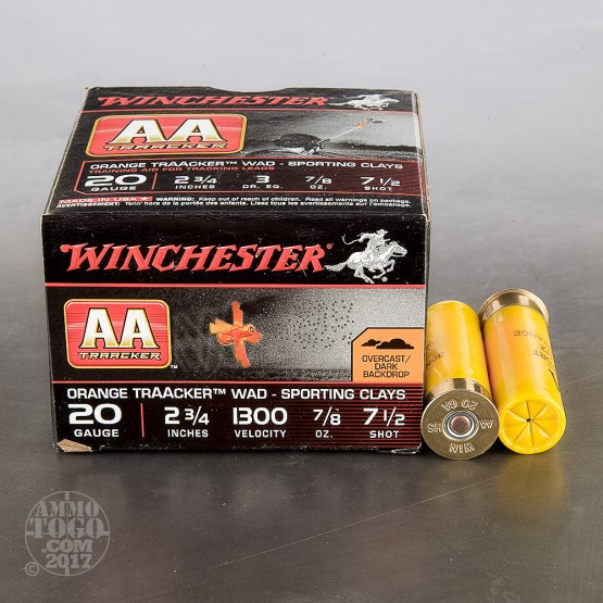 "25rds - 20 Gauge Winchester AA TrAAcker Orange Wad 2-3/4"" 7/8oz. #7-1/2 Shot Ammo"