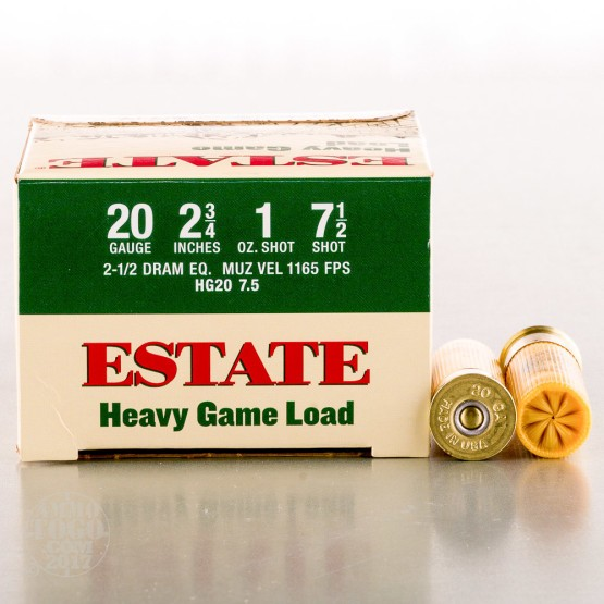 "250rds - 20 Gauge Estate 2 3/4"" 1oz. #7 1/2 Shot Heavy Game Load Ammo"