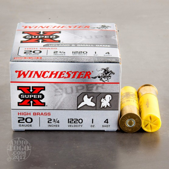"250rds – 20 Gauge Winchester Upland & Small Game 2-3/4"" 1 oz. #4 Shot Ammo"