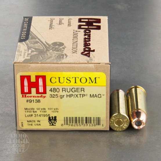 20rds - 480 Ruger Hornady Custom 325gr. XTP Hollow Point Ammo