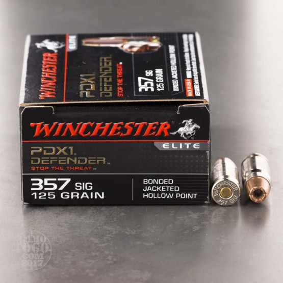 200rds - 357 SIG Winchester Elite 125gr. PDX1 Bonded JHP Ammo