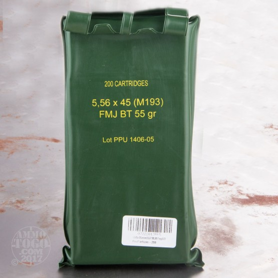 200rds - 5.56 PPU M193 55gr. FMJ Ammo In Sealed Battle Pack