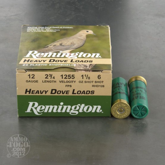 "250rds - 12 Gauge Remington Heavy Dove Loads 2 3/4"" 1 1/8oz. #6 Shot Ammo"
