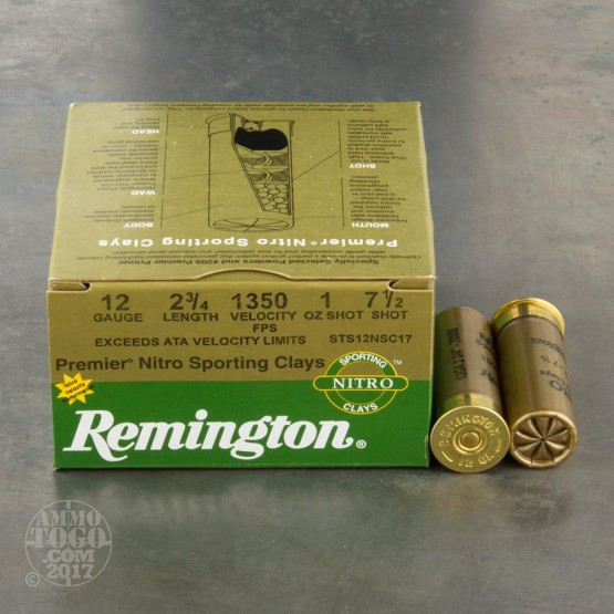 "250rds - 12 Gauge Remington Premier Nitro Sporting Clays 2 3/4"" 1oz. #7 1/2 Shot Ammo"