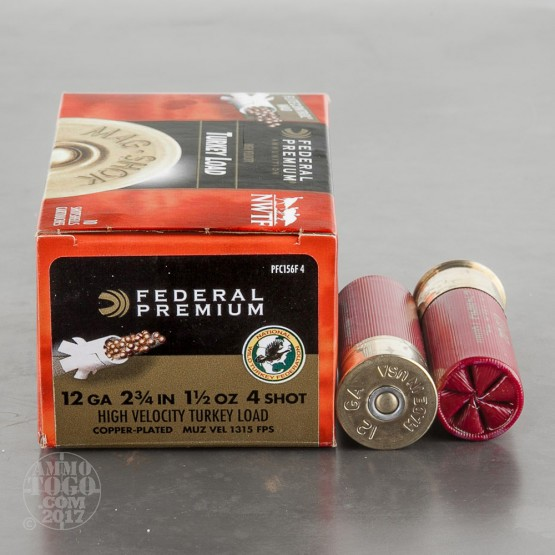 "100rds - 12 Gauge Federal Mag-Shok 2 3/4"" 1 1/2oz. #4 Turkey Load"