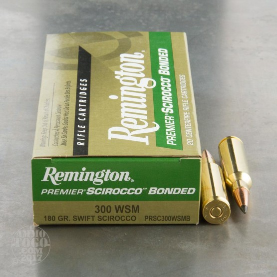 20rds - 300 WSM Remington Premier 180gr. Swift Scirocco Polymer Tip Ammo