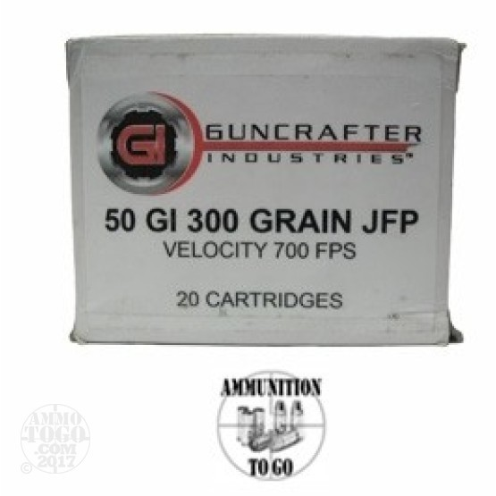 20rds - 50 GI Guncrafter 300gr. Jacketed Flat Point Ammo