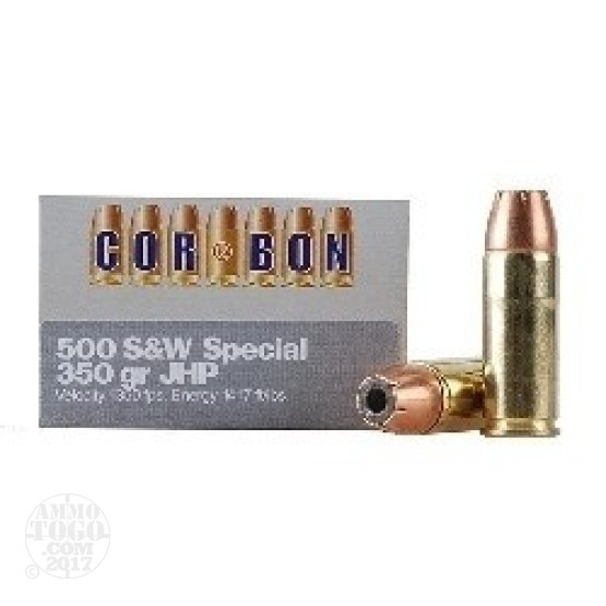 12rds - 500 S&W Corbon 350gr Jacketed Hollow Point Ammo