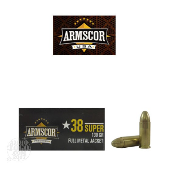 500rds - 38 Super Auto ARMSCOR USA Precision 125gr. FMJ Ammo