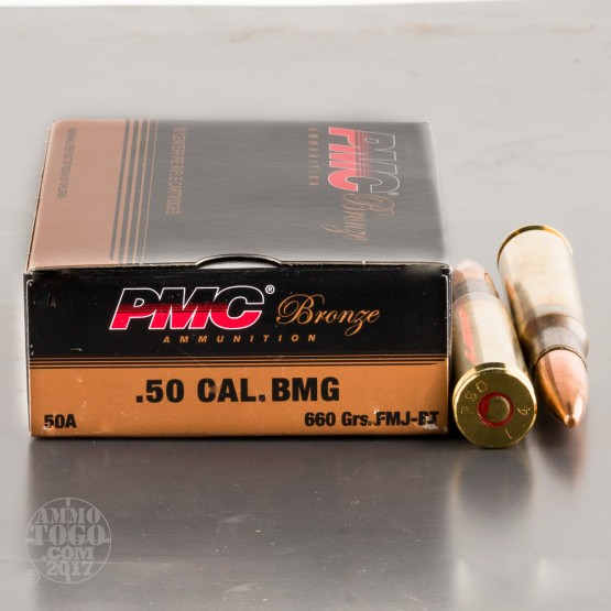 10rds - 50 Cal. BMG PMC Bronze 660gr. Ball Ammo